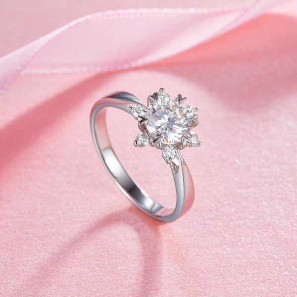 1 Carat Moissanite Diamond Flower Engagement 925 Sterling Silver Ring MFR8338