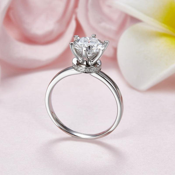 2 Carat Moissanite Diamond (8 mm) 6 Claws Engagement Ring 925 Sterling Silver MF