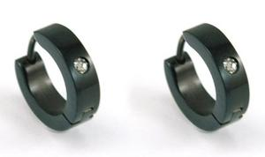 Black R&B CZ Created Stone Hoop Stainless Steel Mens Earrings XME214