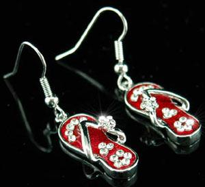 Dangle Red Slippers Earrings use Austrian Crystal XE032