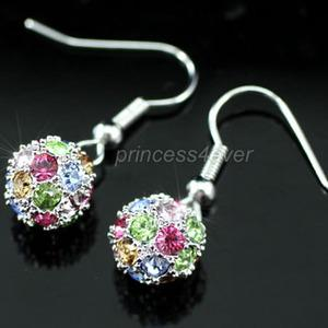 Multi-Colour Ball Earrings use Swarovski Crystal XE222