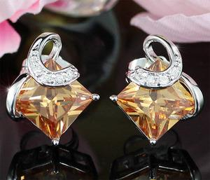 2 Carat Amber Colour Sapphire Stud Earrings XE270