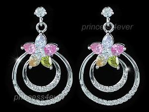 Multi-Color Flower Simulated Topaz Dangling Earrings XE431