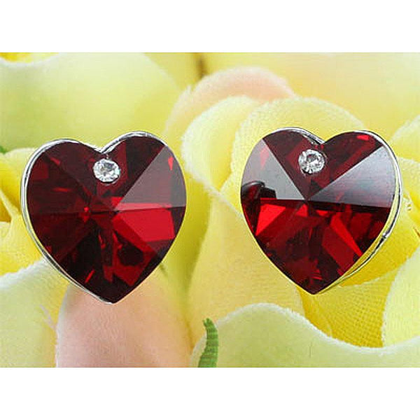 3 Carat Dark Red Crystal Heart Stud Earrings XE506