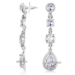 Bridal Wedding Pageant AAA Quality CZ Cubic Zirconia Dangle Earrings XE523
