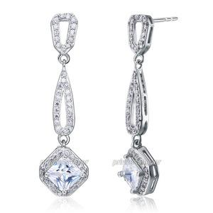 Bridal Party Dangle 1 Carat CZ Cubic Zirconia Earrings XE594