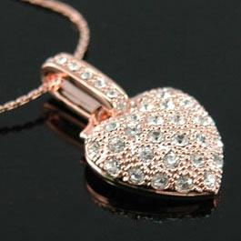 Heart Rose Gold Plated Necklace use Swarovski Crystal XN023