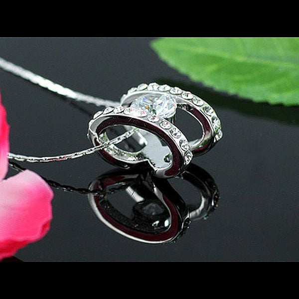 2 Carat Ring Shape Necklace use Austrian Crystal XN213