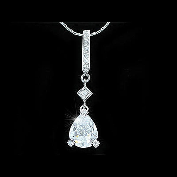 2 Carat Pear Cut Created Diamond Pendant Necklace XN254