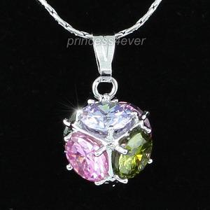 7.5 Carat Multi-Color Created Topaz Cube Necklace XN296