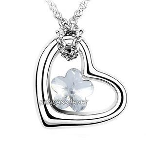 Heart Flower Silver Clear Necklace use Swarovski Crystal XN324
