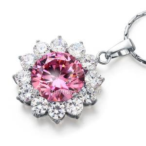 Spakling 8 Carats Flower Pink Simulated Sapphire Pendant & Necklace XN447
