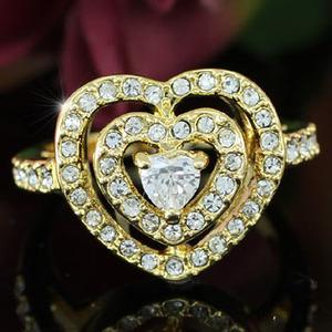 Heart Gold Plated Ring use Swarovski Crystal XR104