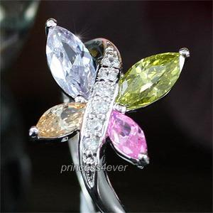 Multi-color Simulated Topaz Butterfly Sparkling Ring XR128