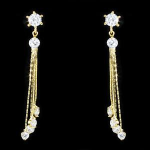 Dangling Bow CZ Cubic Zirconia Gold Plated Earrings XZE714