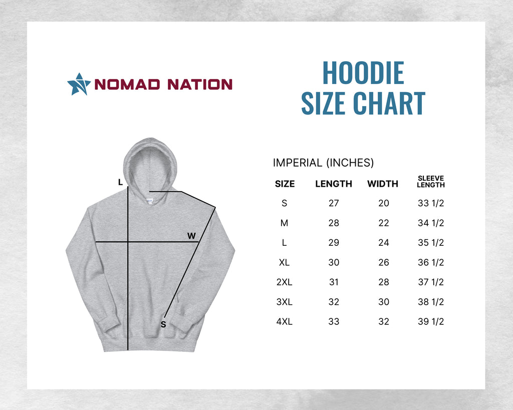 Nomad Nation Hoodie Sizing Chart