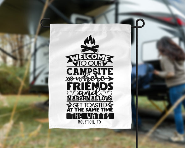 Welcome to Our Campsite Camp Flag