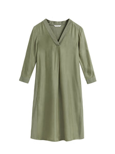 Sandwich olive dress with pockets