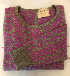 Snowflake cashmere jumper purple and grey