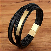 Multi Level Leather Gold and Black Bracelet