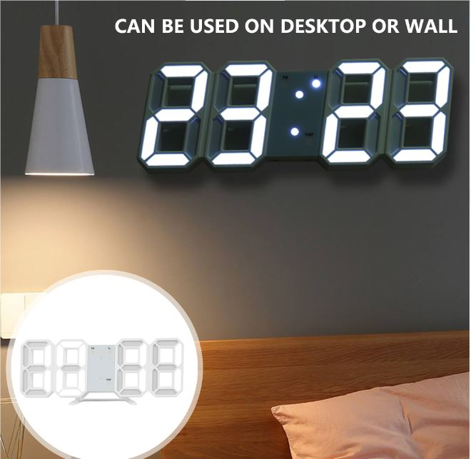 USB powered 3D LED Wall  Digital Table Clock Alarm Nightlight