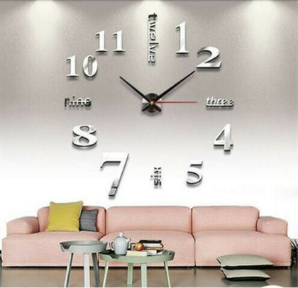 3D Wall Clock Mirror Sticker DIY Living Room
