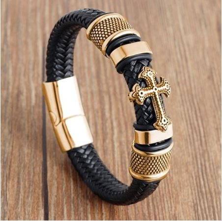 Men Leather Bracelet Vintage Stainless Steel Leather Cord