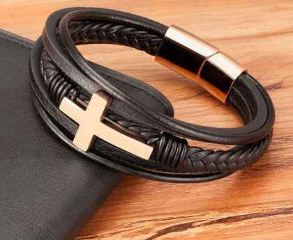 Crucifix Leather Bracelet high quality!