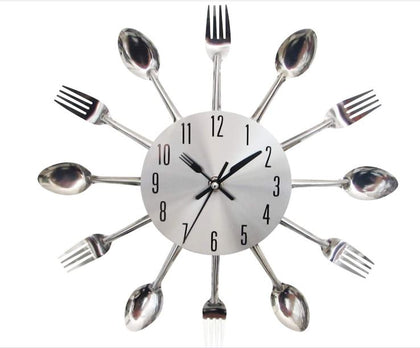 Cutlery 3D wall clock high quality!