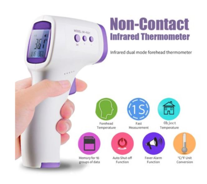 Digital Thermometer Infrared Baby Adult Non-Contact Body Temperature Meter LCD 3 Colors Forehead Thermometer Gun