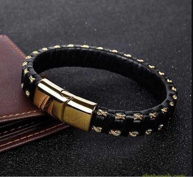 Black and Gold Leather Bracelet