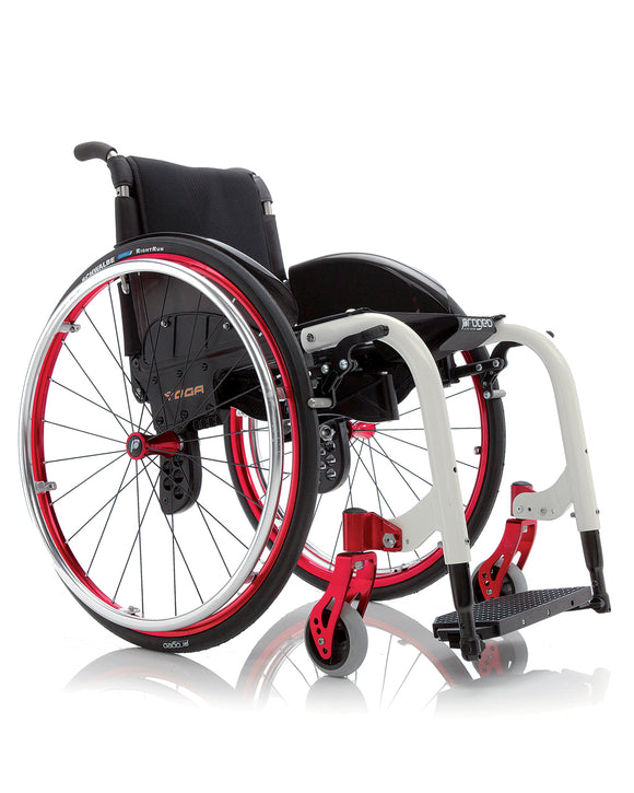 Progeo Folding lightweight wheelchair Yoga red white
