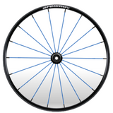 Blue spoke black hub spinergy wheel