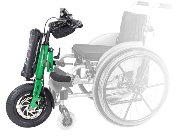 Triride Kids Juniors Children Maual wheelchair power attachment assistance green