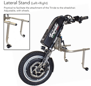 Triride lateral stand for easier wheelchair user attachment