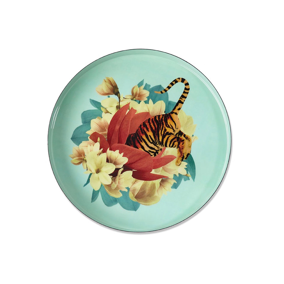 Tablett rund Emaille Tiger Flower