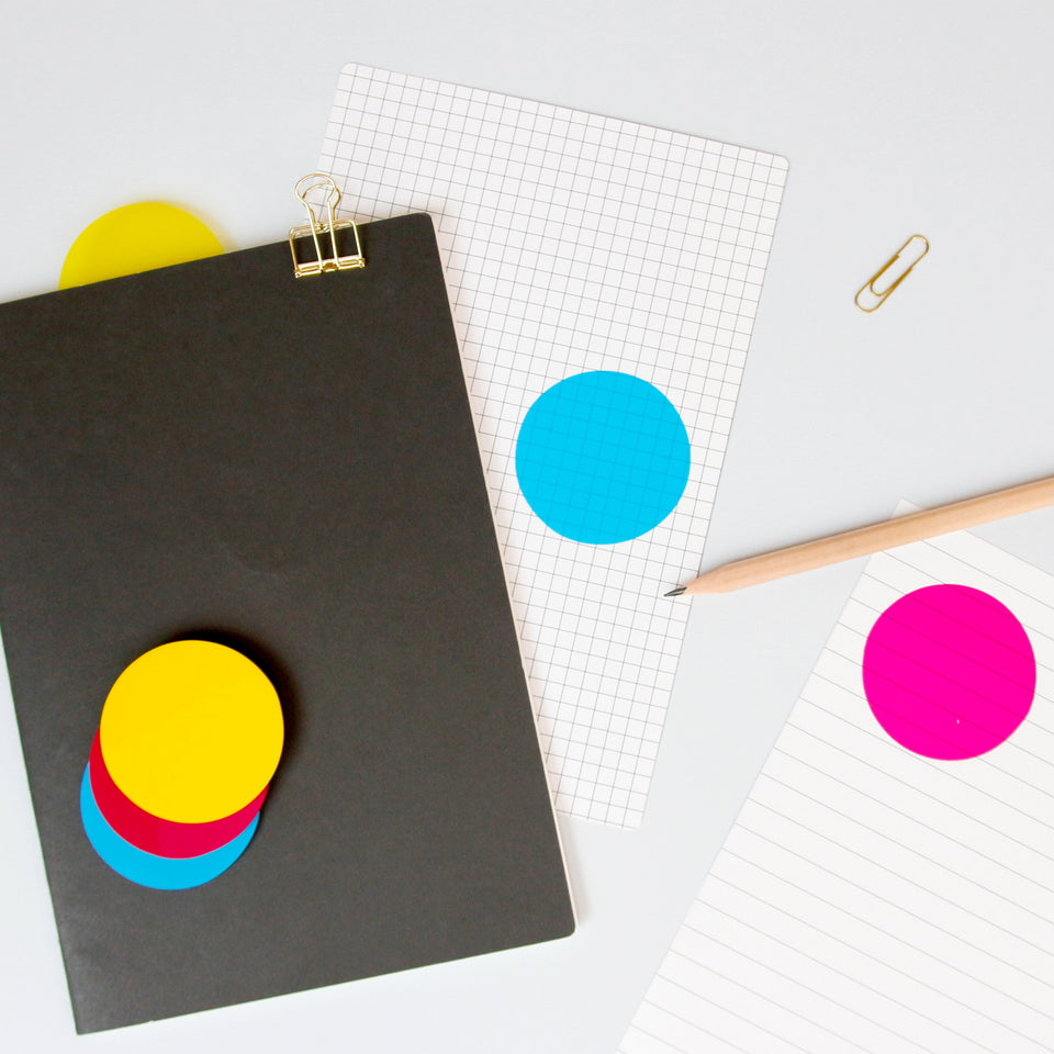 CMYK Sticky Notes transparent Gesamtansicht