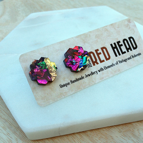 Pixelated Floral Studs (Carnival)