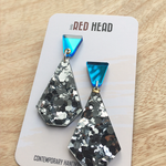 Silver Geo Drop with Mirrored Blue