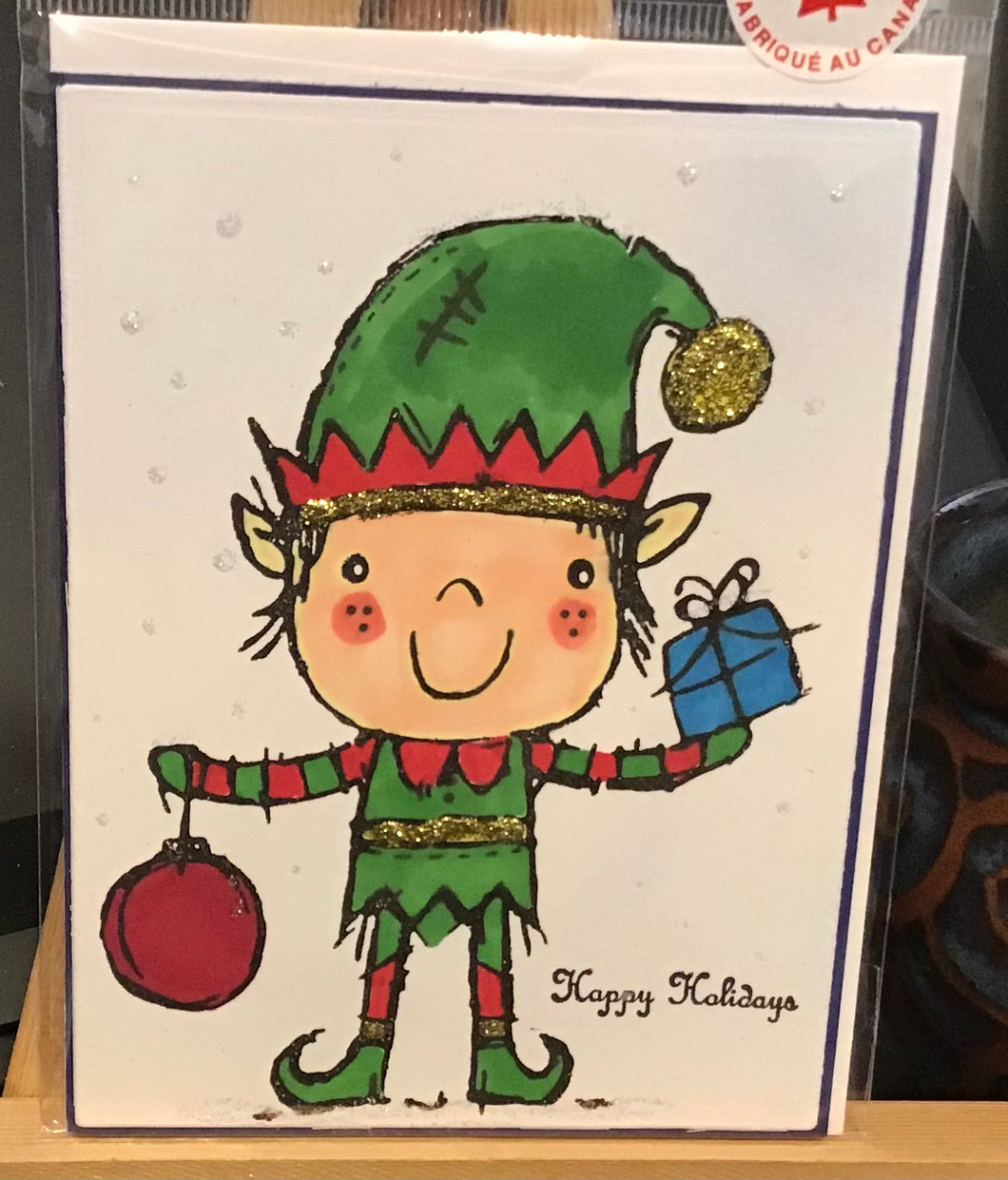 Happy Holidays Elf Card/ Holiday / Friendship/ Winter Greeting Card