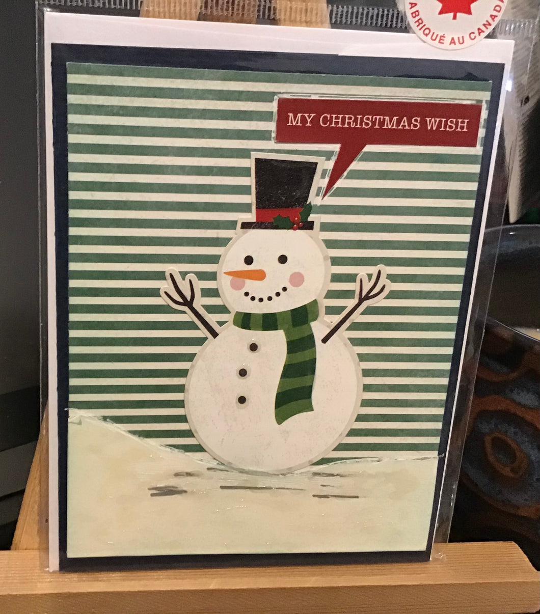 My Christmas Wish Card/ Snowman/ Friendship/ Winter Greeting Card