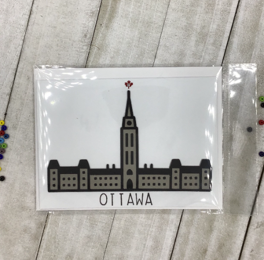 Ottawa Peace Tower Card , Travel, Iconic Canadian, Parliament Building, Silhouette, Handmade in Canada