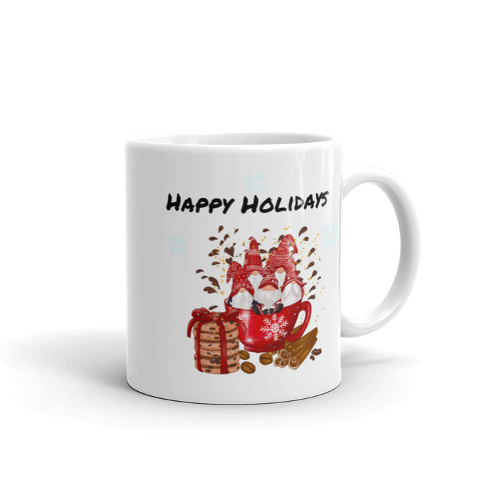 happy holidays, gnome, family, Mug