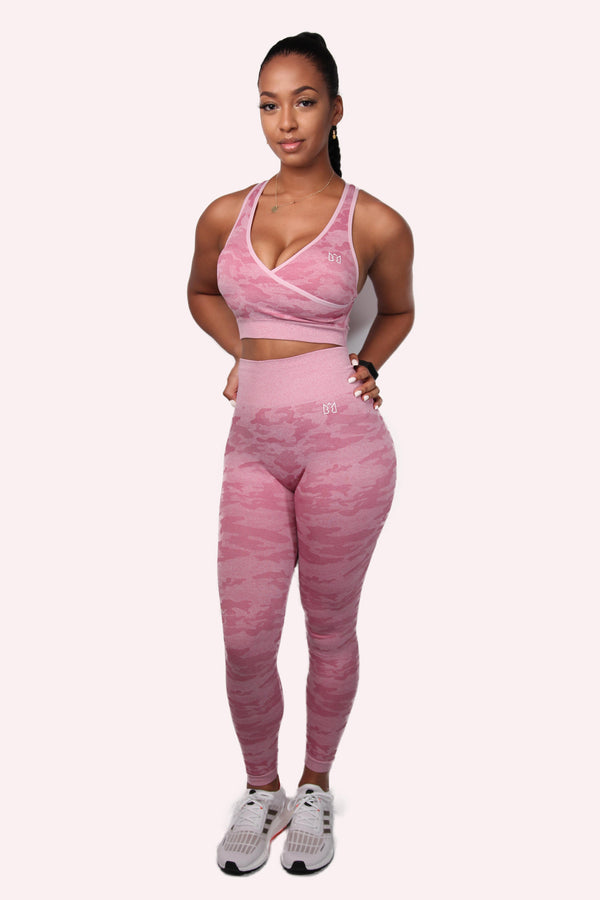 WILD Camo Sleeveless Sports Bra & Leggings Set Pink