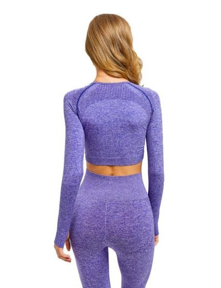 MOVE Long Sleeve Crop Gym Top- Purple