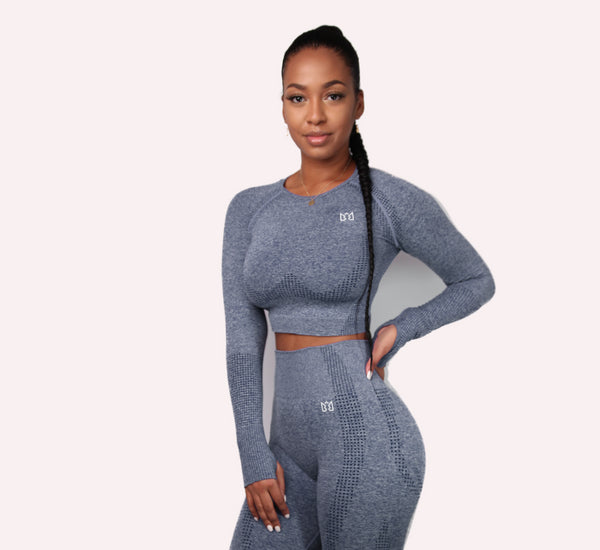 MOVE Long Sleeve Crop Gym Top- Grey