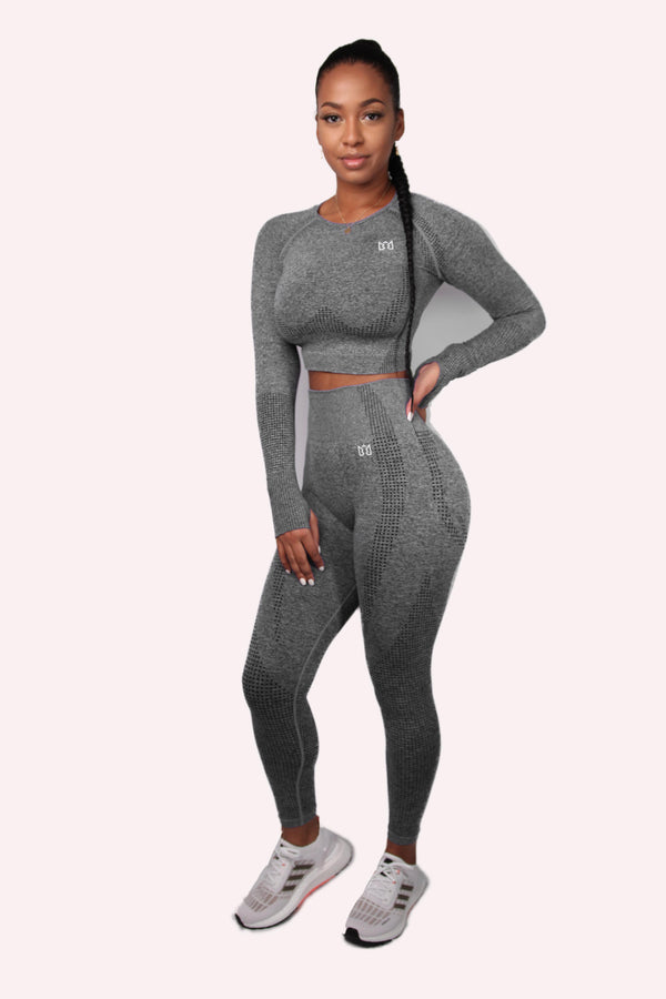 MOVE Seamless Long Sleeve Gym Top & Leggings Set Grey