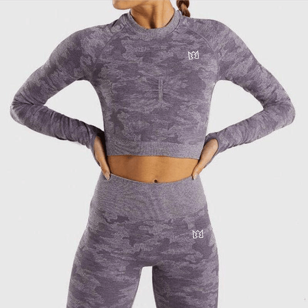 WILD Camo Long Sleeve Crop Top & Leggings Set Purple