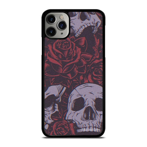 BLACK SKULLS AND ROSES iPhone 11 Pro Max Case