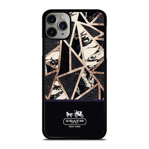 COACH NEW YORK GOLD BLACK TEXTURE iPhone 11 Pro Max Case